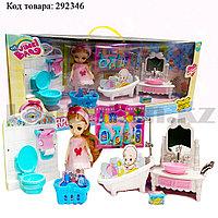 Игровой набор ванная комната с куклой с подвижными руками и ногами и аксессуарами Нарру bathroom No.K0087