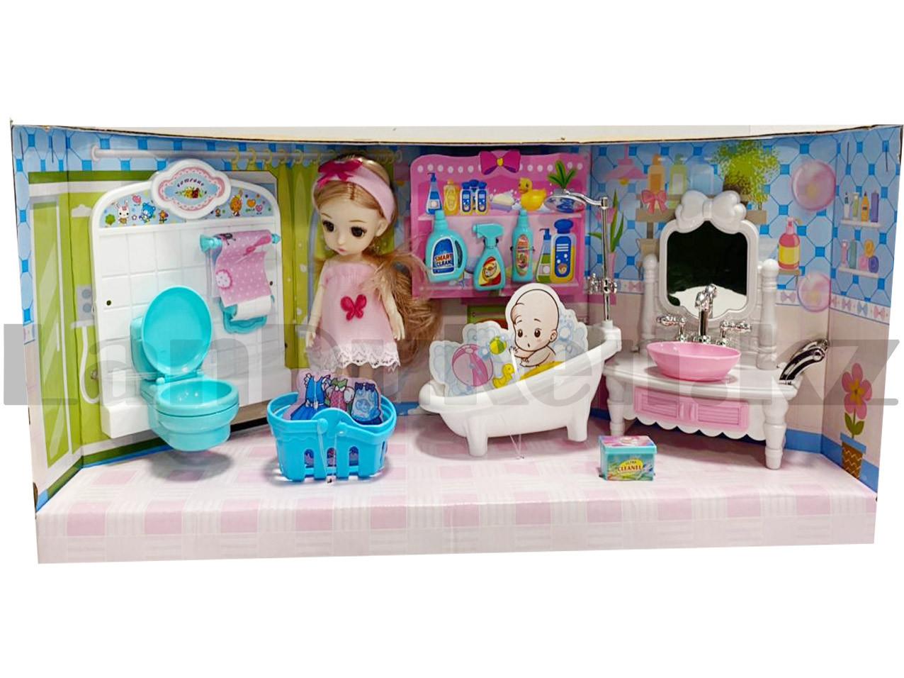 Игровой набор ванная комната с куклой с подвижными руками и ногами и аксессуарами Нарру bathroom No.K0087 - фото 3