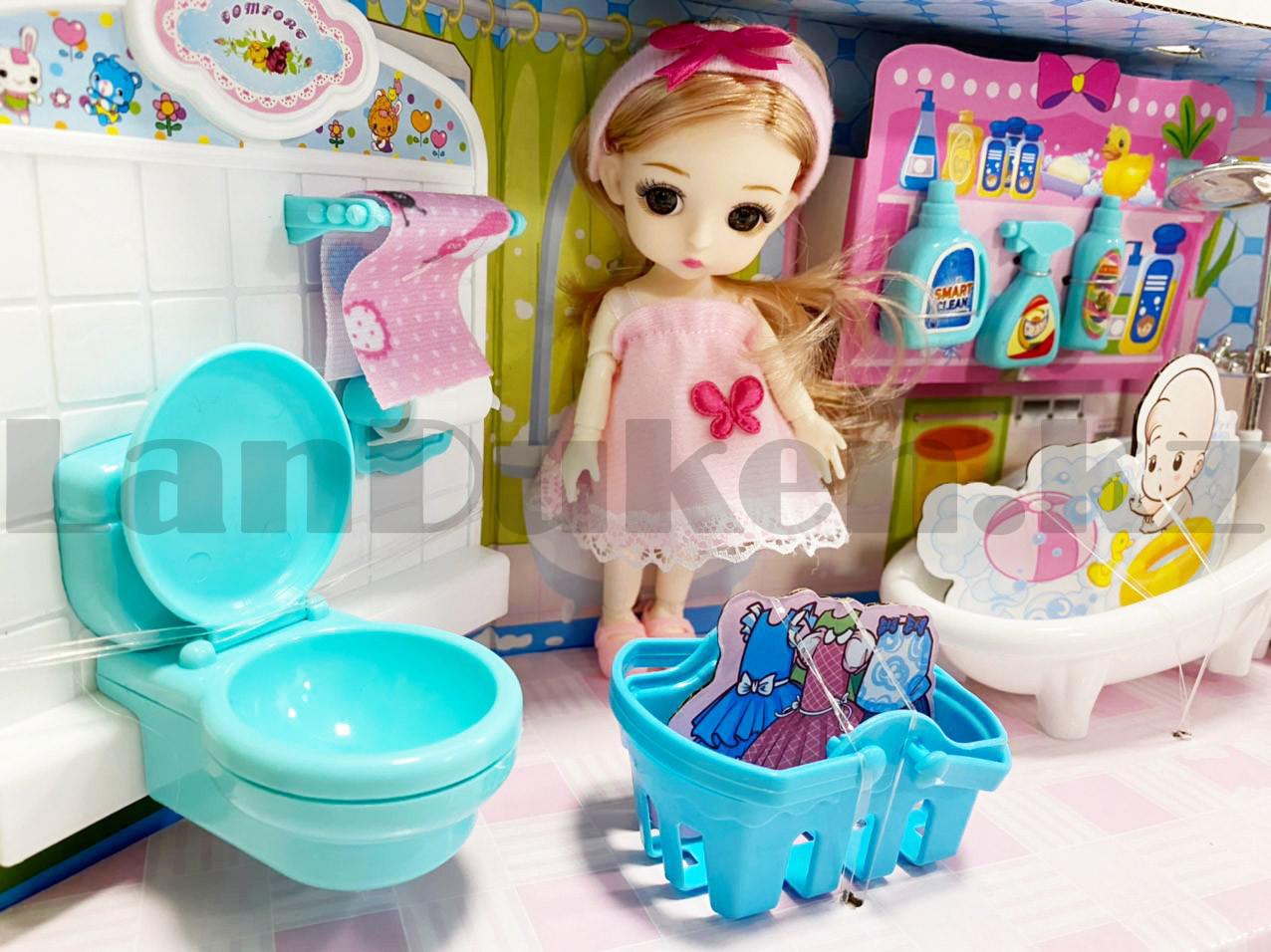 Игровой набор ванная комната с куклой с подвижными руками и ногами и аксессуарами Нарру bathroom No.K0087 - фото 5