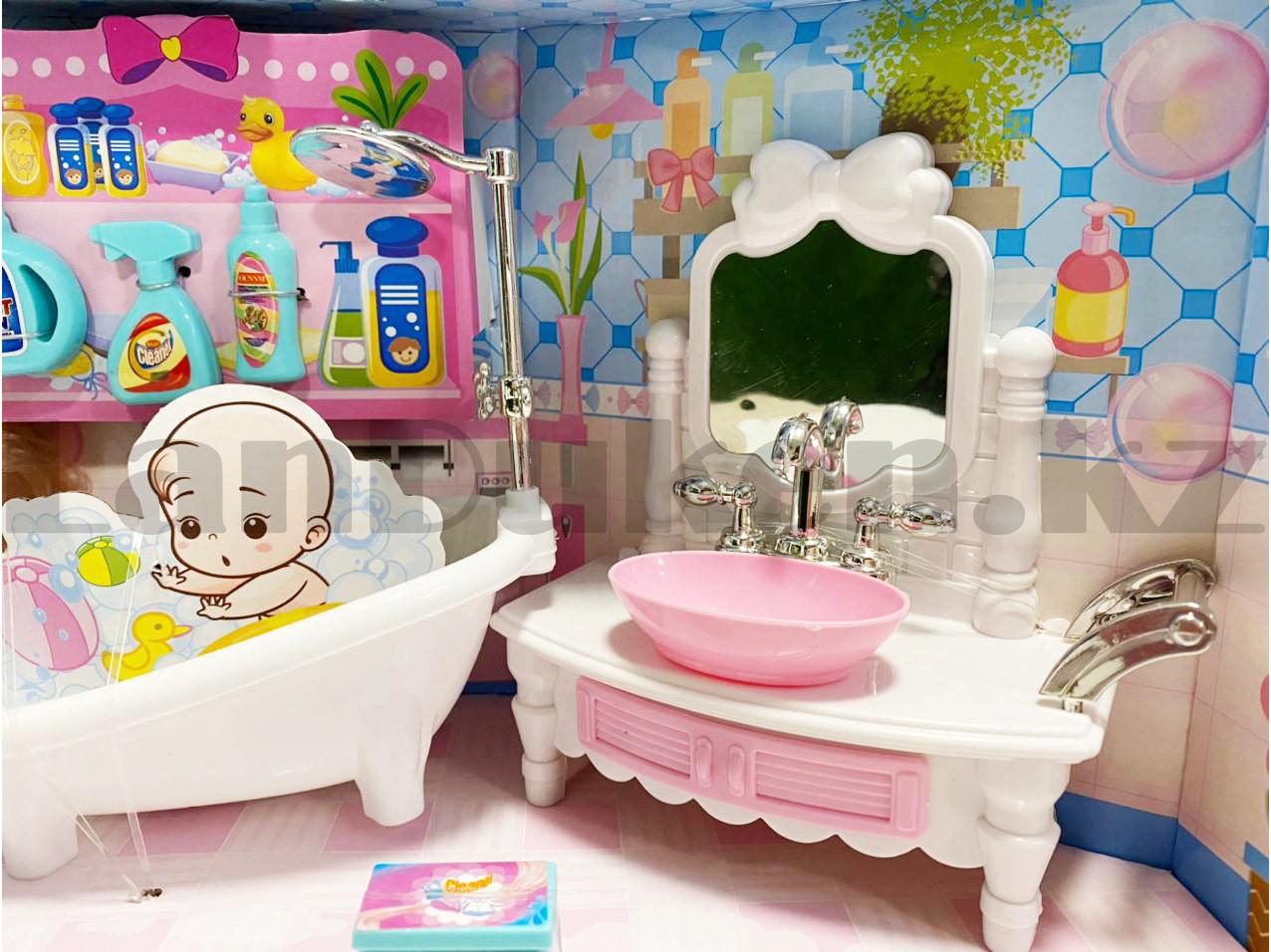 Игровой набор ванная комната с куклой с подвижными руками и ногами и аксессуарами Нарру bathroom No.K0087 - фото 6