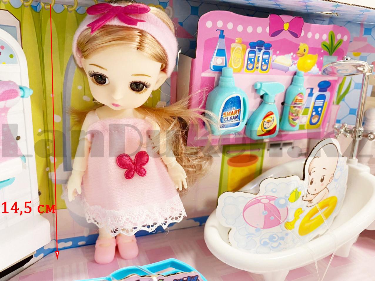Игровой набор ванная комната с куклой с подвижными руками и ногами и аксессуарами Нарру bathroom No.K0087 - фото 4