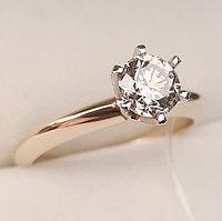 Золотое кольцо с бриллиантом 0,80Сt VVS2/M EX-Cut, фото 1