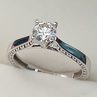Золотое кольцо с бриллиантом 0.50Сt VS1/K Good-Cut, фото 1