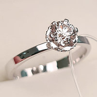 Золотое кольцо с бриллиантом 0,56Сt VS2/K EX-Cut, фото 1