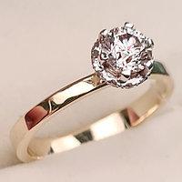 Золотое кольцо с бриллиантом 0,57Сt VS2/K EX-Cut, фото 1