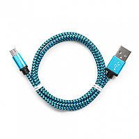 Кабель USB 2.0 Cablexpert CC-mUSB2bl1m, USB-MicroUSB, 1м, нейлоновая оплетка, алюм разъемы, синий