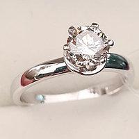 Золотое кольцо с бриллиантом 0,83Сt VS2/K Ex-Cut, фото 1