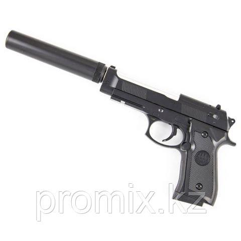 Игрушечный железный/металлический пистолет (Beretta) с глушителем. Airsoft Gun C.19+