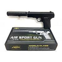 Игрушечный железный/металлический пистолет K-113S (Brauning K-113S) с глушителем. Airsport Gun