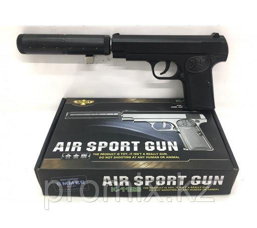 Игрушечный железный/металлический пистолет (Brauning K-112S) с глушителем. Airsport Gun K-112S