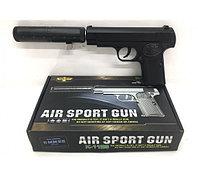 Игрушечный железный пистолет (Brauning K-112S) с глушителем. Airsport Gun K-112S