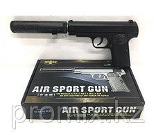 Игрушечный железный/металлический пистолет K-112S (Brauning) с глушителем. Airsport Gun