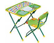 Набор мебели НИКА ПЕРВОКЛАШКА зеленый фон (стол-парта+мяг стул) h580
