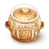 Комплект керамических горшочков из белой глины «Кушать подано!» для запекания в духовке {650мл х 6 шт.}