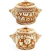 Комплект керамических горшочков из белой глины «Кушать подано!» для запекания в духовке {650мл х 6 шт.} (Во!)
