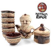 Чайный сервиз сувенирный с казахским орнаментом «Алтын бай» {10 предметов, на 6 персон, чайник-статуэтка}