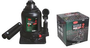 ROCKFORCE Домкрат бутылочный двухштоковый с клапаном 2т (высота подхвата - 150мм, высота подъема - 370мм, ход