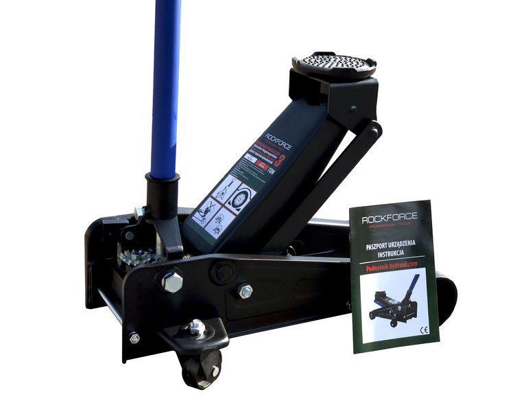 ROCKFORCE Домкрат подкатной гидравлический 3т (h min 145мм, h max 475мм) с резиновой накладкой ROCKFORCE