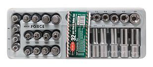 ROCKFORCE Набор головок Е-профиль и бит-насадок TORX (Е10-Е24, M5-M6,T50-Т70, T50H-T40H) 32 предметав лотке