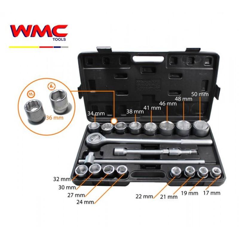 """WMC tools Набор инструментов  21 предмет 3/4""""(6гр)(17,19,21,22,24,27,30,32,34,36,36-12гр.,38,41,46,48,50мм)"""
