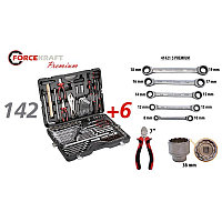Forcekraft Набор инструментов 142+6 предметов 1/4''3/8''1/2''(6-гран.)(4-36мм, 27,30,32,36-12гр.)+(ключи