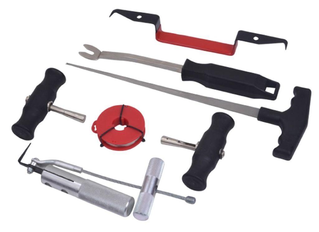 ROCKFORCE Набор инструментов для демонтажа автомобильных стекол 7 предметов, в ложементе ROCKFORCE RF-907M1
