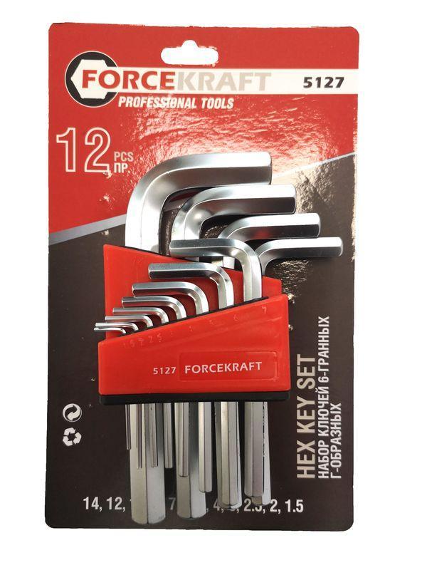 Forcekraft Набор ключей Г-образных 6-гранных, 12 предметов (1.5, 2, 2.5, 3-8, 10, 12, 14мм), в блистере
