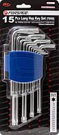 Forsage Набор ключей Г-образных TORX длинных, 15 предметов(Т6, Т7, Т8, Т9, Т10, Т15, Т20, Т25, Т27, T30, T40,
