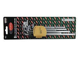 ROCKFORCE Набор ключей Г-образных TORX экстра длинных, 9 предметов (Т10Н, Т15Н, Т20Н, Т25Н,Т27Н, Т30Н, Т40Т,