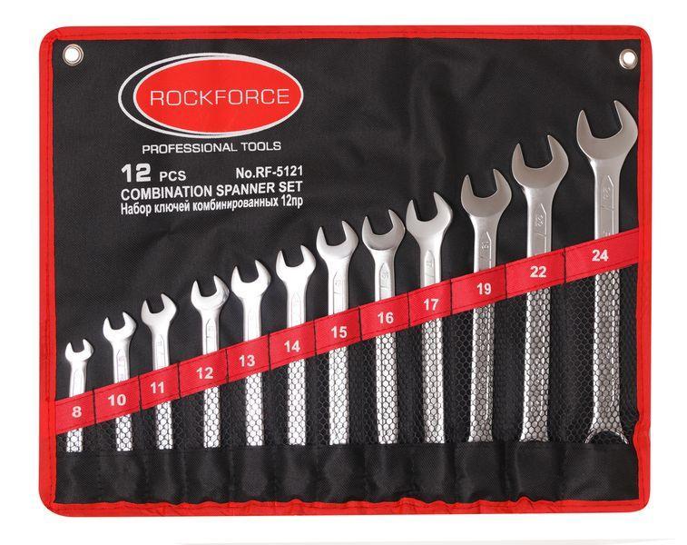 ROCKFORCE Набор ключей комбинированных 12 предметов на полотне (8, 10-17, 19, 22, 24мм) ROCKFORCE RF-5121 906