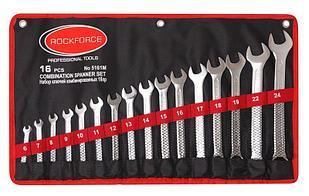 ROCKFORCE Набор ключей комбинированных 16 предметов (6-19, 22, 24мм) на полотне ROCKFORCE RF-5161M 504