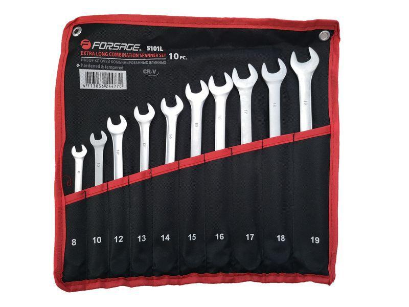 Forsage Набор ключей комбинированных удлиненных 10 предметов (8, 10, 12-19мм)на полотне Forsage F-5101L 29708
