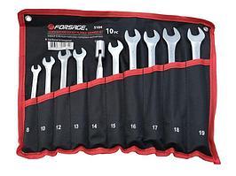 Forsage Набор ключей рожково-торцевых шарнирных 10 предметов (8, 10, 12-19мм) на полотне Forsage F-5104 29707