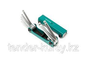 ROCKFORCE Набор ключей TORX складной, 8 предметов(T9, T10, T15, T20, T25, T27, T30, T40 с отверстием)