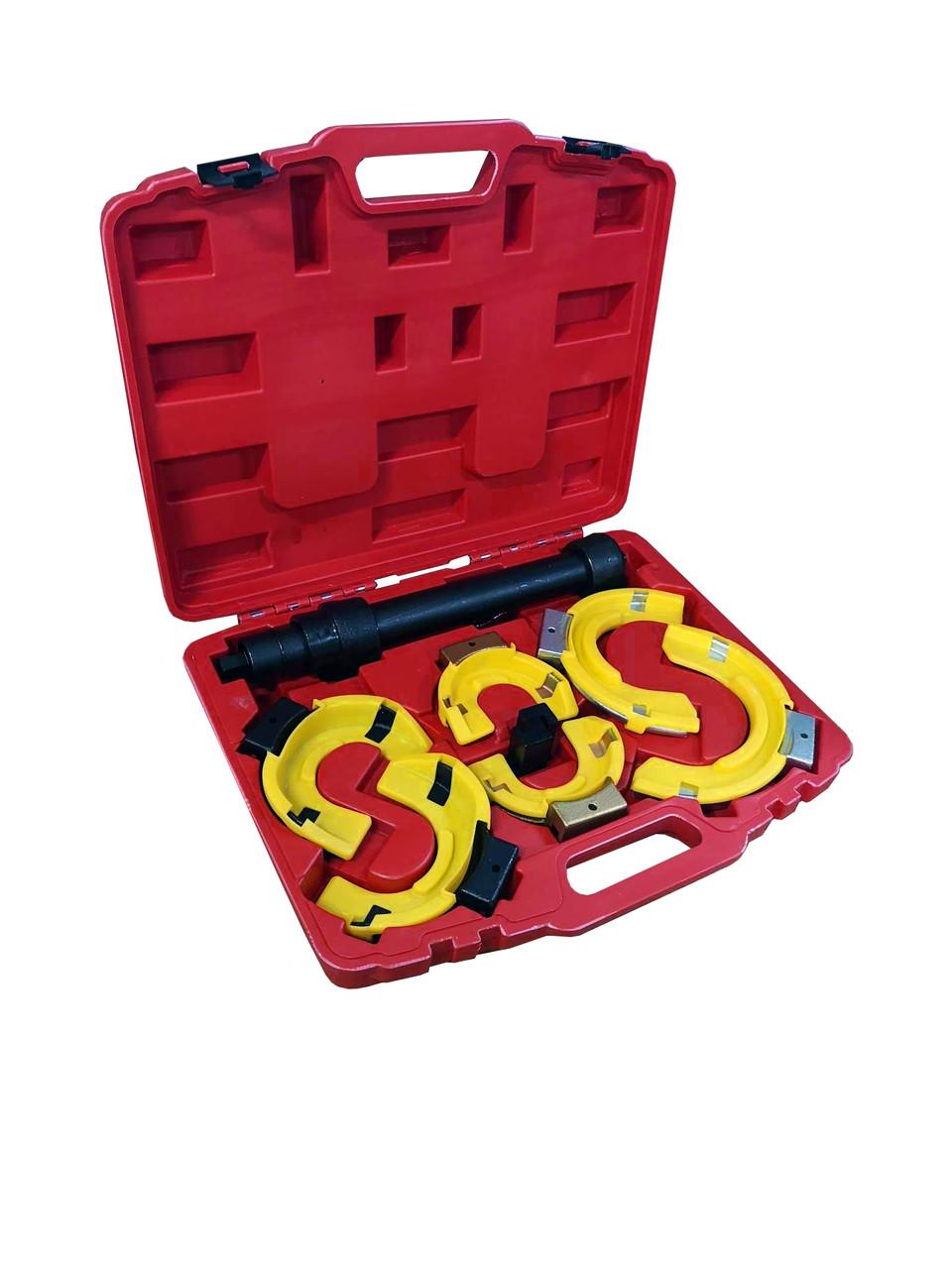 ROCKFORCE Стяжка пружин с 3-мя парами захватов и пластиковыми накладками, 7 предметов(раб.