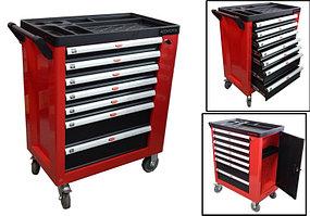 ROCKFORCE Тележка инструментальная 7-ми полочная (красная), с дополнительной боковой секцией, 600х840х980