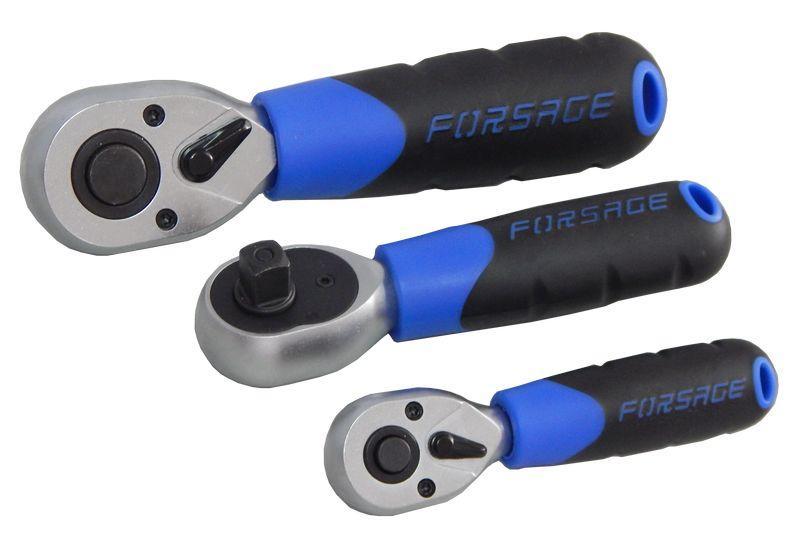 """Forsage Трещотка реверсивная, короткая с резиновой ручкой 3/8""""L-135мм (72зуб) Forsage F-802319 15779"""