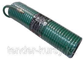 ROCKFORCE Шланг витой полиуретановый 10мм х 14мм х 15м с быстроразъемами (латунь, максимальное давление -