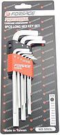 Forsage Набор ключей 6-гранных Г-образных длинных 10 предметов(1.27, 1.5, 2, 2.5, 3-6, 8, 10мм)в пластиковом
