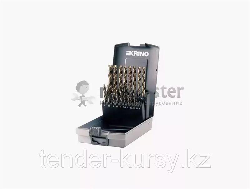 Krino Набор сверл по металлу из быстрорежущей стали HSS+CO 1-10мм 19 предметов в футляре Krino 1155101 9200