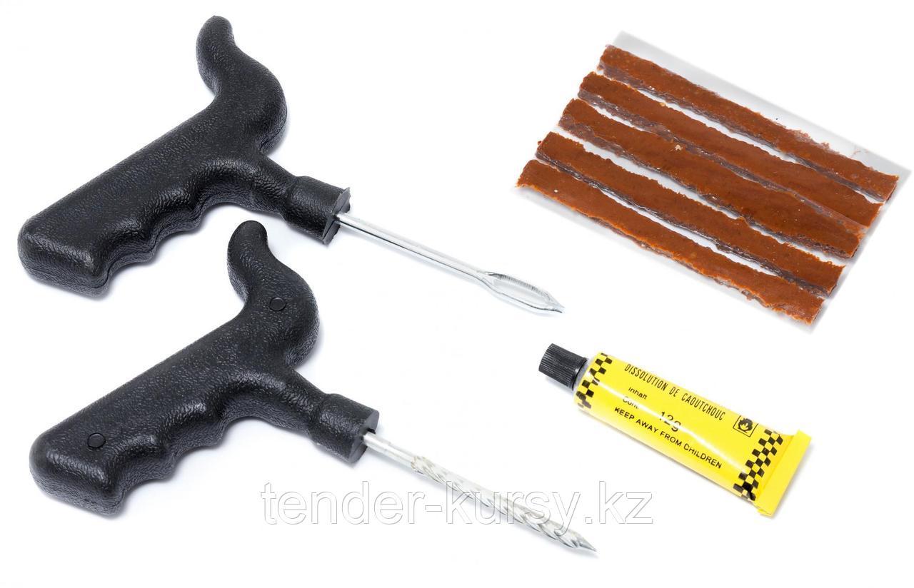 Kingtul Набор инструментов для ремонта шин 8 предметов(шило,протяжка,шнуры,клей), в блистере KINGTUL KT-904T8С