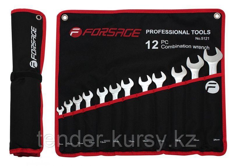 Forsage Набор ключей комбинированных 12 предметов(8-24мм)на полотне Forsage F-5121 9663