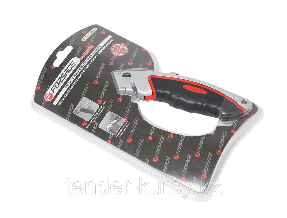 Forsage Нож универсальный в метал. корпусе с прорезиненной рукояткой и запасными лезвиями, 5шт, в блистере