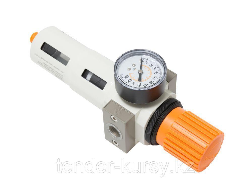 """ROCKFORCE Фильтр-регулятор с индикатором давления для пневмосистемы """"Profi"""" 1/2""""(пропускная способность:2800"""