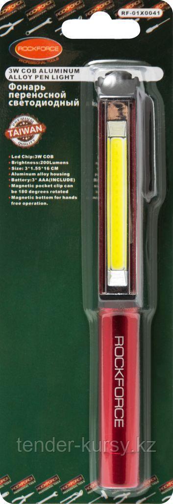 ROCKFORCE Фонарик переносной светодиодный в комплекте с батарейками (CUB, 3xAAA), в блистере ROCKFORCE
