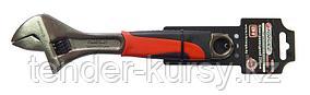 """Forsage Ключ разводной с резиновой рукояткой 10""""-250мм (захват 30мм), на пластиковом держателе Forsage"""