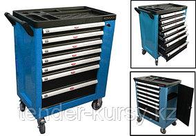 ROCKFORCE Тележка инструментальная 7-ми полочная (синяя), с дополнительной боковой секцией, 600х840х980