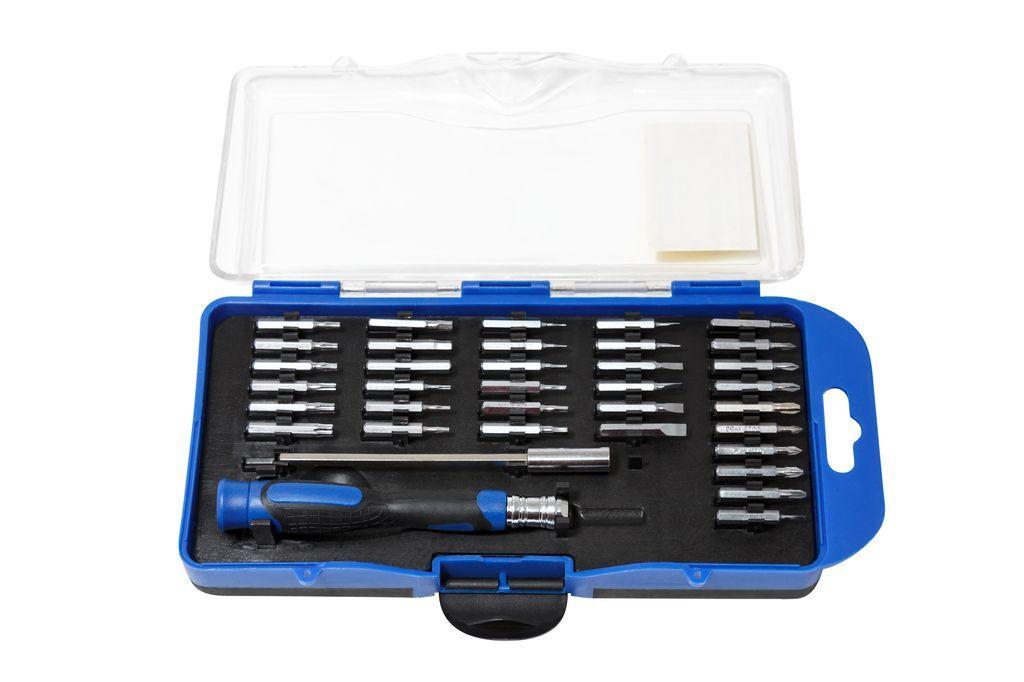Partner Отвертка ювелирная с удлинителем и набором бит, 36 предметов, в пластиковом футляре Partner PA-AD23036