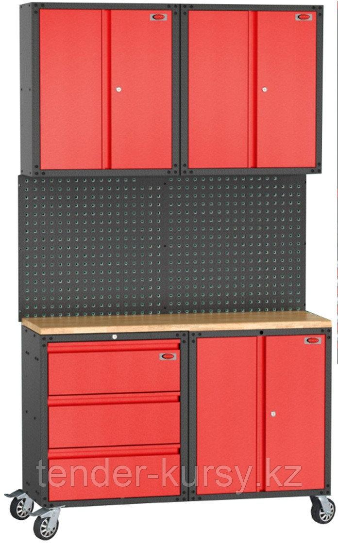 ROCKFORCE Комплект металлической гаражной мебели 7 предметов 460х2180х1330мм (шкаф навесной двухстворчатый 1
