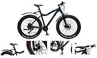 "Forsage Велосипед Фэтбайк Riot-x(рамаAl 6061;колесо26"";пер/зад покр.4""; 27скоростей Shimano Acera,вилка RST"